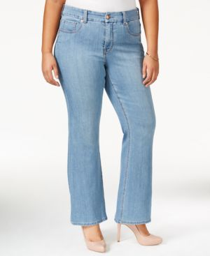 Melissa McCarthy Seven7 Plus Size High-Rise Blue Wash Flare-Leg Jeans