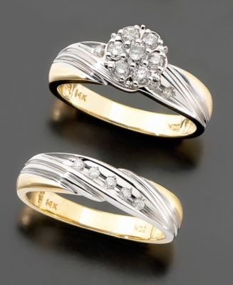 14k Two-tone Gold Diamond Two-piece Bridal Set (1/2 ct. tw.)