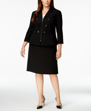 Tahari Asl Plus Size Double-Breasted Military Skirt Suit