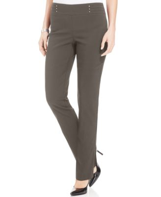 JM Collection Regular and Short Length Studded Pull-On Pants, Created for Macy's