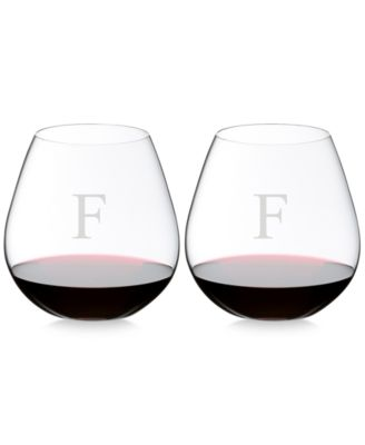 Riedel O Monogram Collection 2-Pc. Block Letter Pinot Noir Stemless Wine Glasses