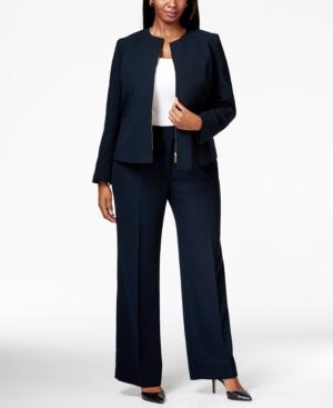 Tahari Asl Plus Size Zip-Front Crepe Pantsuit