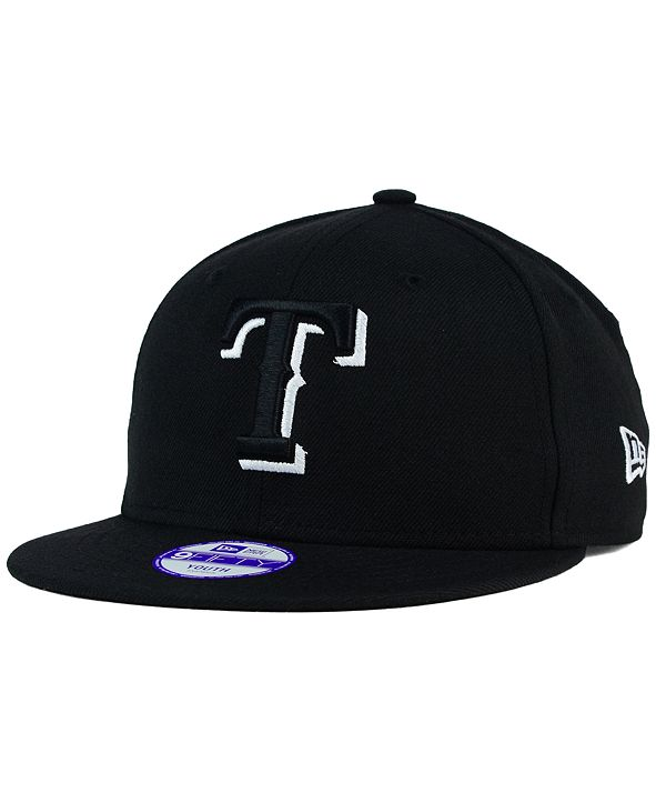 New Era Kids' Texas Rangers Black White 9FIFTY Snapback Cap