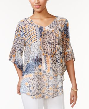 Style & Co. Sheer Printed Peasant Blouse, Only at Macy's