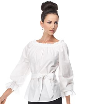 Belted Ruffle-Trim Blouse