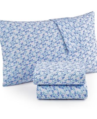 Martha Stewart Collection Leaf Ditsy 300-Thread Count Cotton Percale Full Sheet Set, Only at Macy's