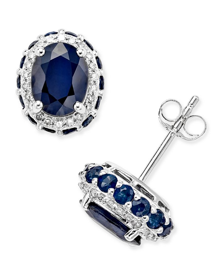 Macy's - Blue Sapphire (3-7/8 ct. t.w.) and White Sapphire (1/5 ct. t.w.) Oval Stud Earrings in 10k White Gold