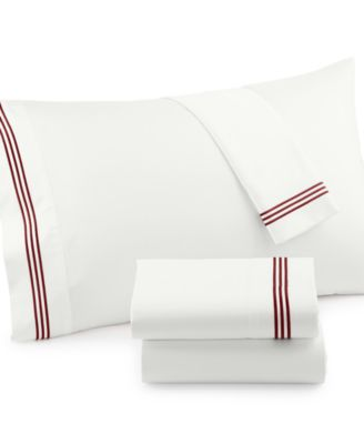 300 Thread Count Merrow Line Embroidered Hem Cotton Queen Sheet Set