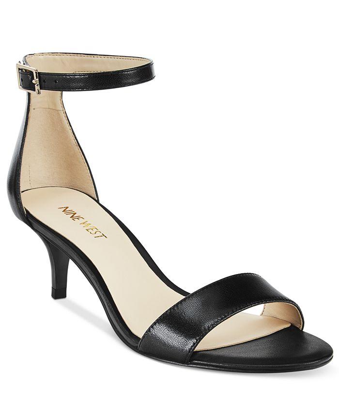 Nine West - Leisa Leather Two-Piece Kitten Heel Sandals