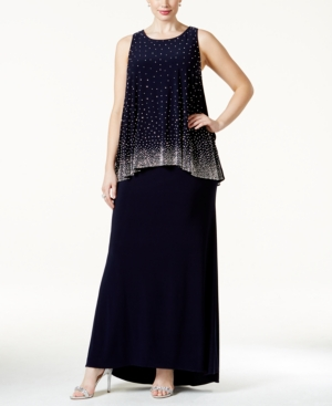 Betsy & Adam Plus Embellished Popover Evening Dress plus size dresses, plus size dress,