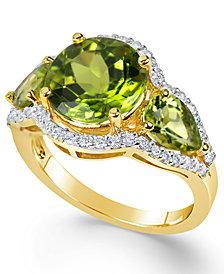 Peridot (4-3/8 ct. t.w.) and Diamond (3/8 ct. t.w.) Three-Stone Ring in 14k Gold