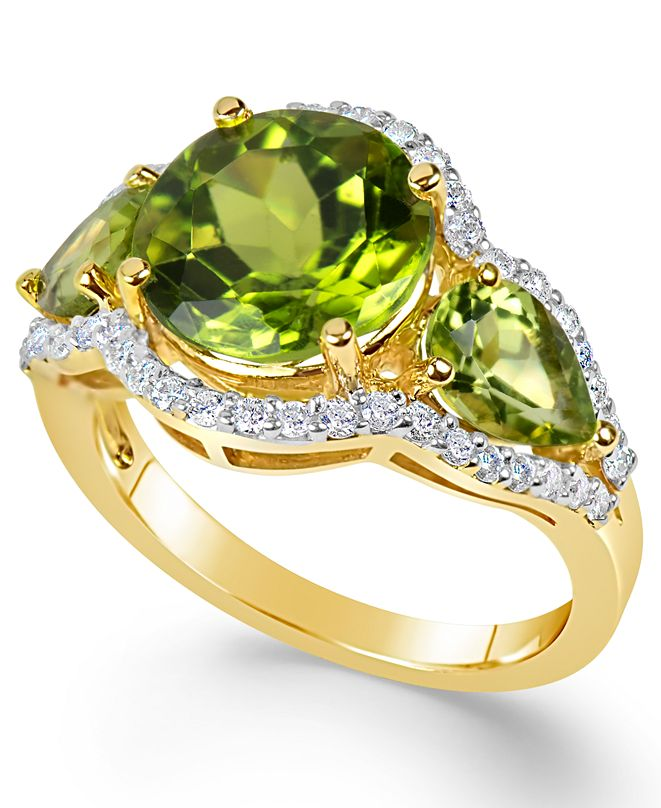 Macy's Peridot (4-3/8 ct. t.w.) and Diamond (3/8 ct. t.w.) Three-Stone Ring in 14k Gold