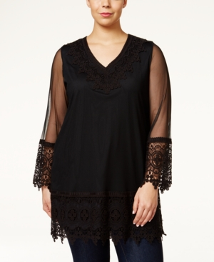 Alfani Plus Size Lace-Embellished Mesh Tunic Only at Macys $40.99 AT vintagedancer.com