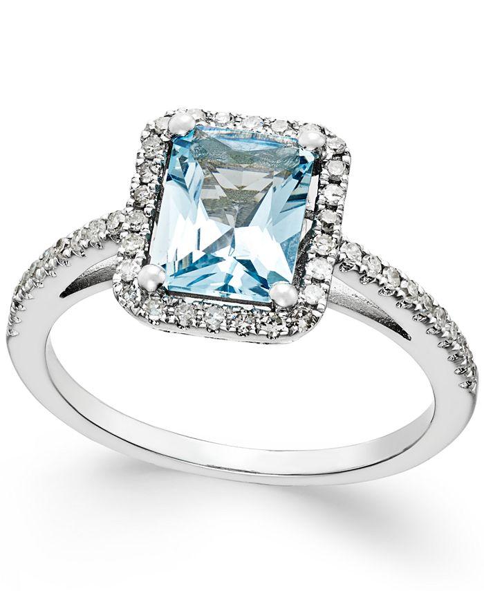 Macy's - Aquamarine (1-1/5 ct. t.w.) and Diamond (1/4 ct. t.w.) Ring in 14k White Gold