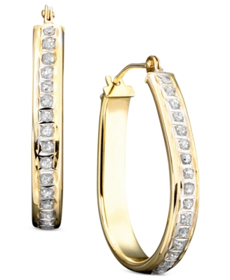 14k Gold Diamond-Accented Pear-Shaped Hoop Earrings
