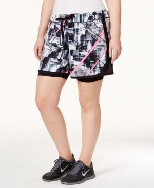 Ideology Plus Size Layered Shorts, Only at Macy's