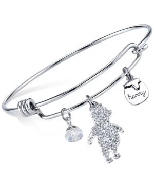 Disney Winnie the Pooh Crystal Charm Bangle Bracelet in Sterling Silver Plating...