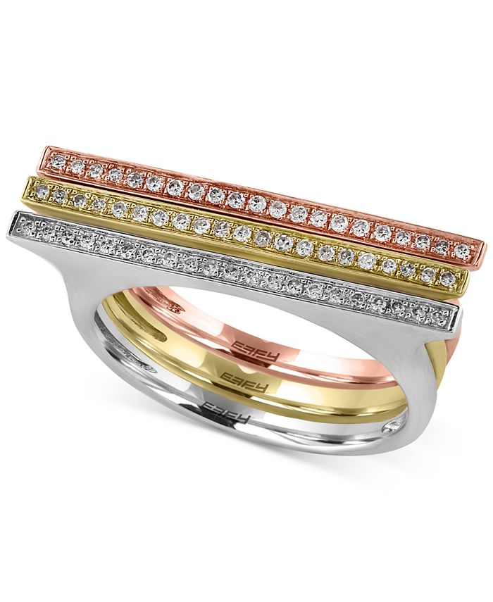 EFFY Collection - Diamond Ring (1/5 ct. t.w.) in 14k Yellow, White and Rose Gold