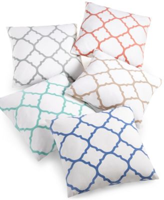 "Charter Club Damask Designs Geometric 18"" Square Decorative Pillow, Only at Macy's"