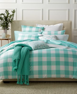 Charter Club Damask Designs Gingham Teal King Comforter Set, Only at Macy's