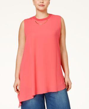 Rachel Rachel Roy Curvy Plus Size Asymmetrical Sleeveless Top