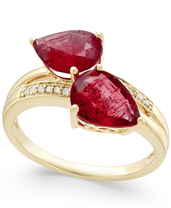 Macy's - Ruby (4 ct. t.w.) and Diamond Accent Statement Ring in 14k Gold