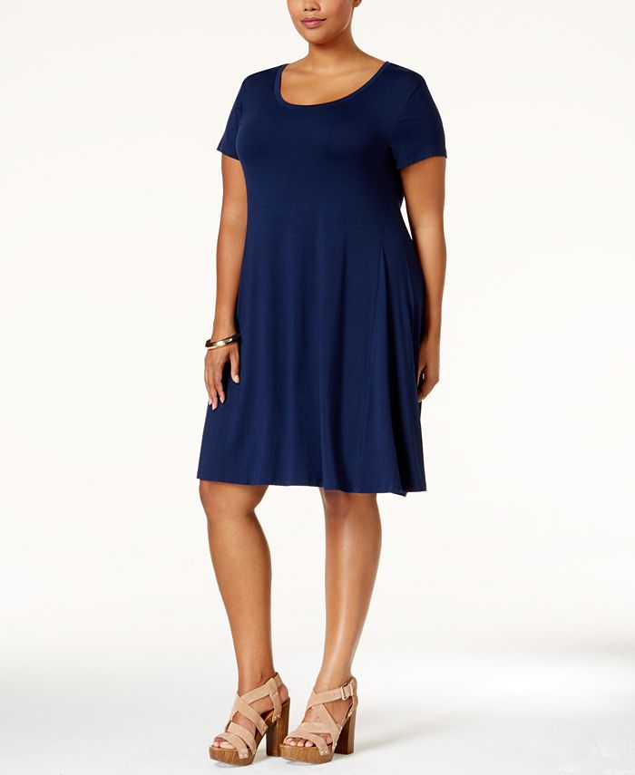 Style Co Plus Size Short Sleeve Swing Dress Created For Macy S Reviews Dresses Plus Sizes Macy S