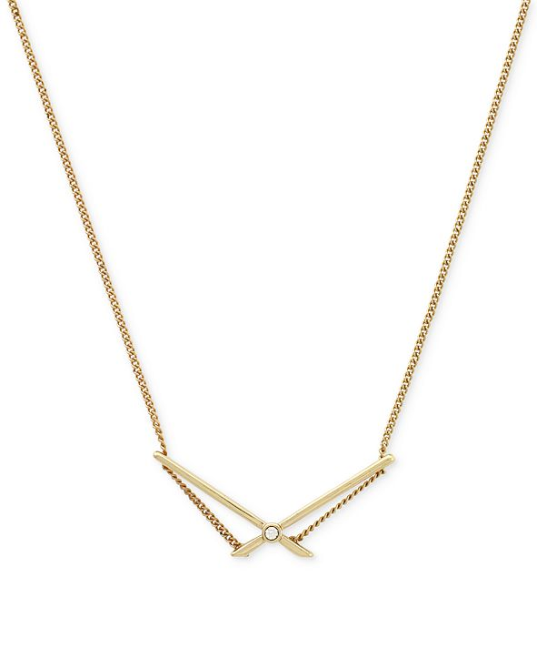 BCBGeneration Gold-Tone Crystal X Statement Necklace