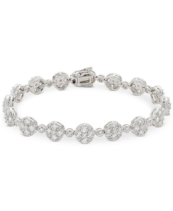 Macy's - Swarovski Zirconia Cluster Link Bracelet in Sterlin Silver