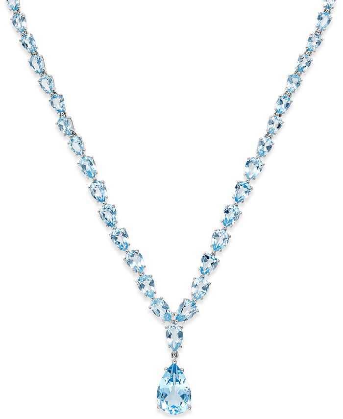 Macy's - Blue Topaz Statement Necklace (30 ct. t.w.) in Sterling Silver