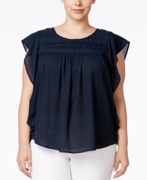 Jessica Simpson Trendy Plus Size Kala Embroidered Top