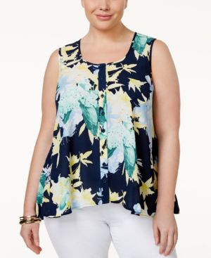 Style & Co. Plus Size Floral-Print Sleeveless Blouse, Only at Macy's