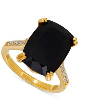 Onyx (7-1/2 ct. t.w.) and Cubic Zirconia Statement Ring in 14k Gold-Plated Sterling Silver thumbnail