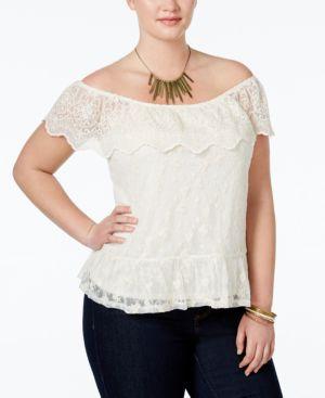 Monteau Trendy Plus Size Lace Off-The-Shoulder Blouse