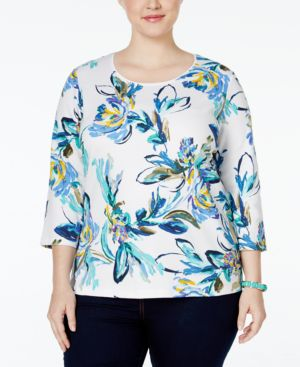 Karen Scott Plus Size Printed Top, Only at Macy's