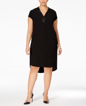 Calvin Klein Plus Size Cap-Sleeve V-Neck Shift Dress