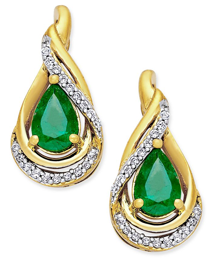 Macy's - Emerald (3/4 ct. t.w.) and Diamond (1/10 ct. t.w.) Stud Earrings in 14k Gold