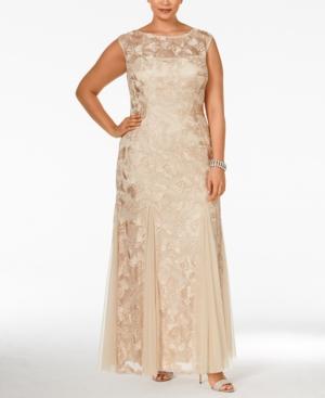 Alex Evenings Plus Size Floral Soutache Godet Gown plus size dresses, plus size dress,
