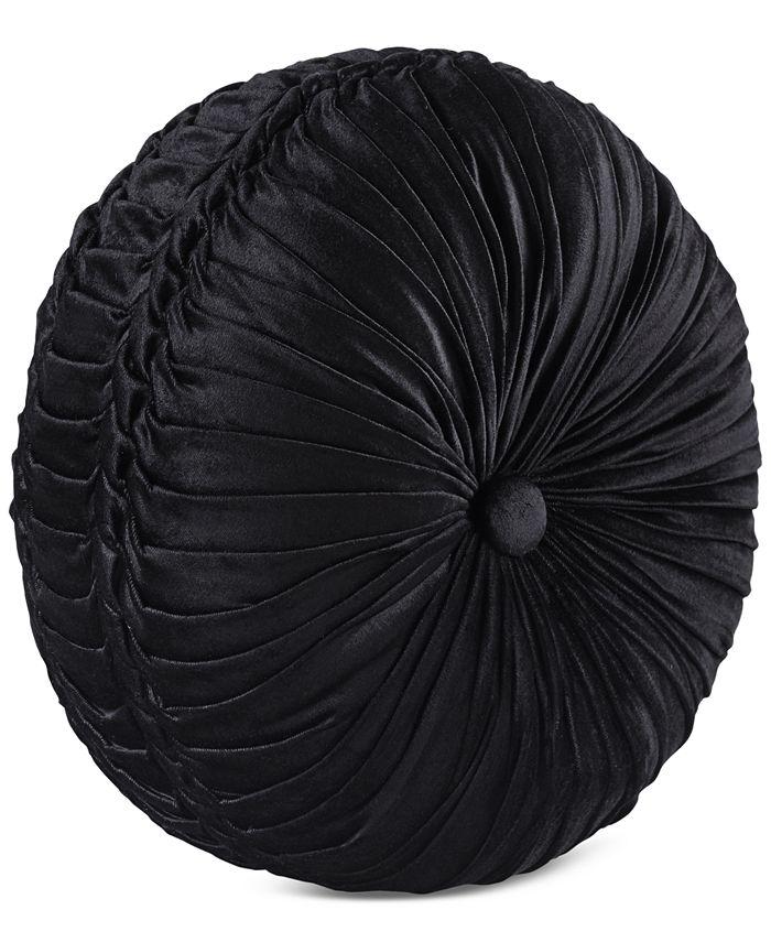 J Queen New York - Bradshaw Black Tufted Round Decorative Pillow
