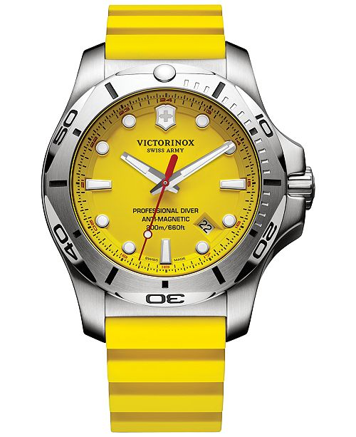 Victorinox Swiss Army Men's Swiss I.N.O.X. Professional Diver Yellow Rubber  Strap Watch 45mm 241735.1 & Reviews - All Fine Jewelry - Jewelry & Watches  - Macy's