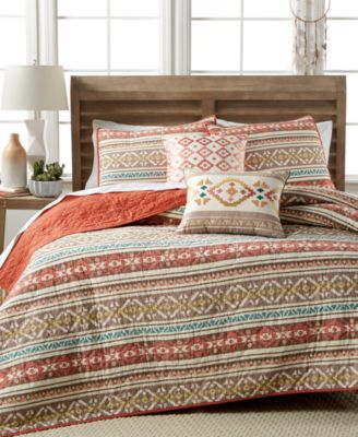 Martha Stewart Collection Silver City Stripe King Quilt, Only at Macy's