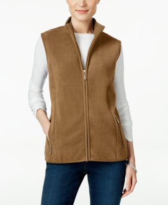 Image of Karen Scott Fleece Zip-Front Vest, Only at Macy's