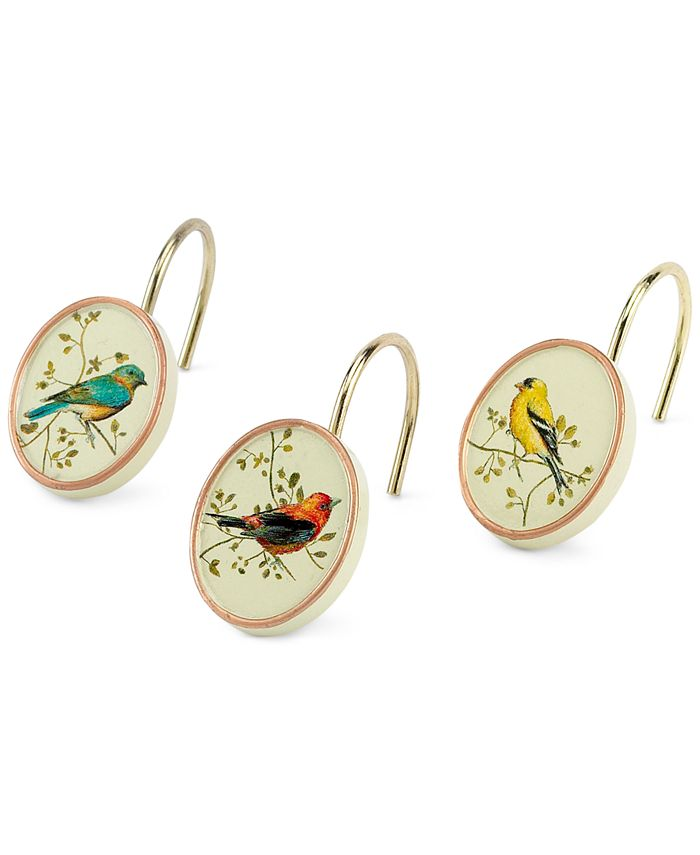 Avanti - Gilded Birds Shower Curtain Hooks, Set of 12