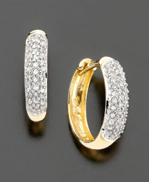 14k Gold Diamond Pavé Hoop Earrings (1/4 ct. t.w.) - Hoop Earrings