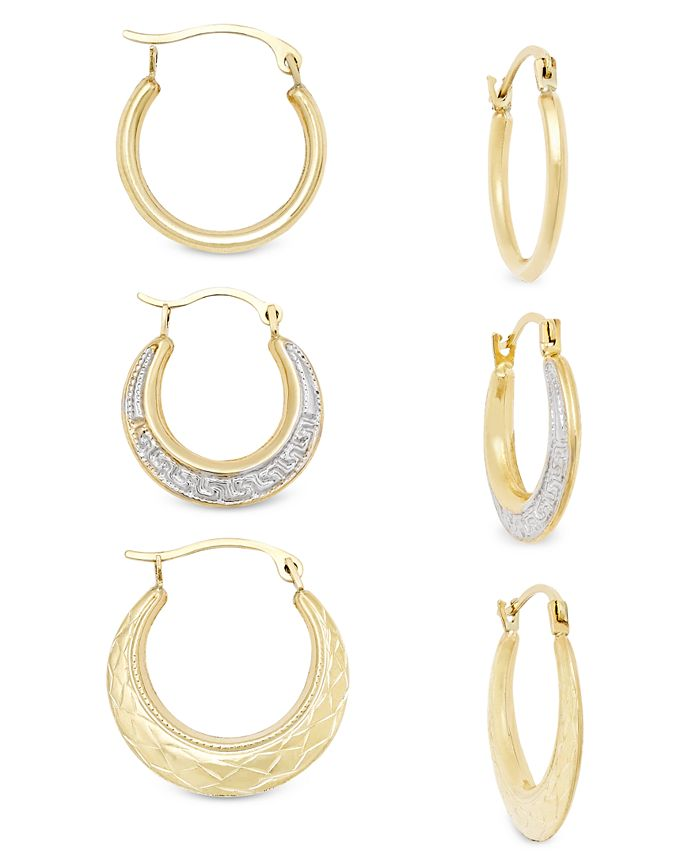 Macy's - 3-Pc Set Small Hoop Earrings in 10k Gold
