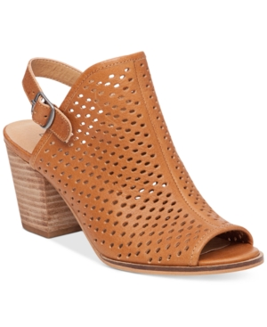 Lucky Brand Women's Hatorra Perforated Slingback Block-Heel Sandals Women's Shoes