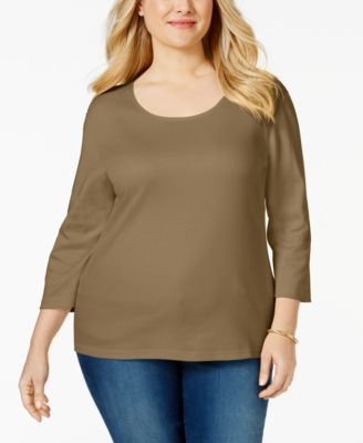 Image of Karen Scott Plus Size Scoop-Neck Top, Only at Macy's