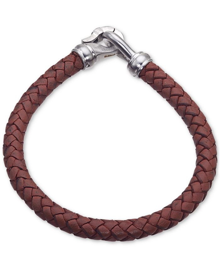 Esquire Men's Jewelry - Brown Leather Bracelet in Stainless Steel