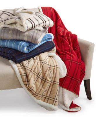 Martha Stewart Collection Reversible Faux-Sherpa Throw, Only at Macy's