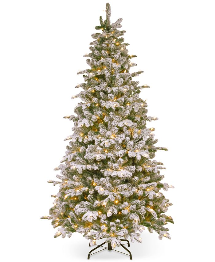 National Tree Company - 7.5' Feel-Real ® Snowy Everest Fir Medium Hinged Christmas Tree with 450 Clear Lights